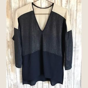 Zara Collection Blouse SZ M Mixed Media Blue Beige